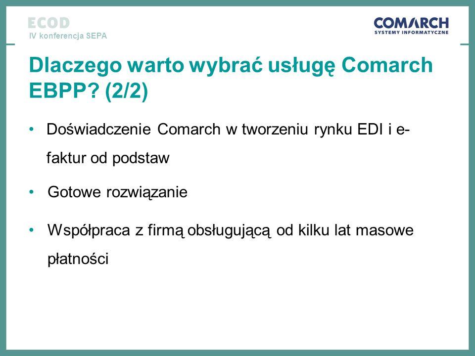 IV konferencja SEPA Dlaczego warto wybrać usługę Comarch EBPP? (2/2) Doświadczenie Comarch w tworzeniu rynku EDI i e- faktur od podstaw Gotowe rozwiąz
