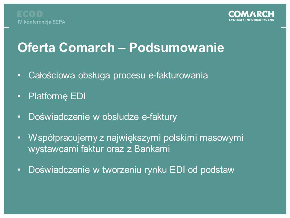 IV konferencja SEPA Oferta Comarch – Podsumowanie Całościowa obsługa procesu e-fakturowania Platformę EDI Doświadczenie w obsłudze e-faktury Współprac