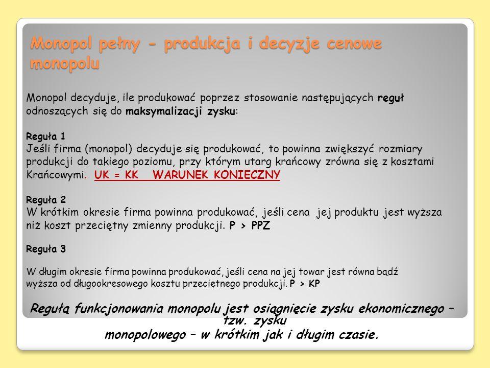 Monopol pełny - produkcja i decyzje cenowe monopolu Monopol decyduje, ile produkować poprzez stosowanie następujących reguł odnoszących się do maksyma