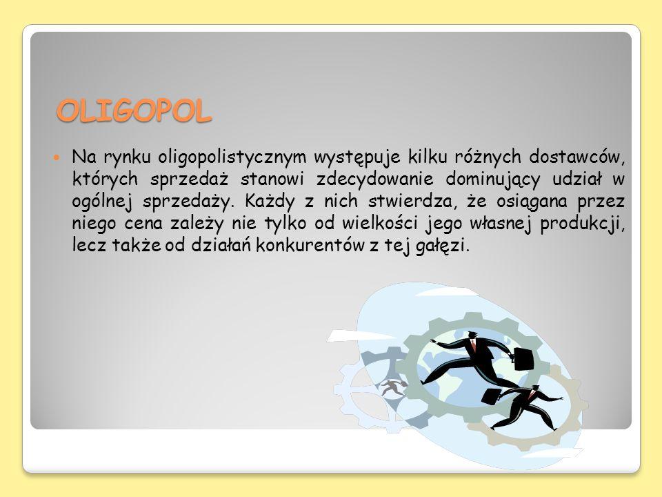 OLIGOPOL Na rynku oligopolistycznym występuje kilku różnych dostawców, których sprzedaż stanowi zdecydowanie dominujący udział w ogólnej sprzedaży. Ka