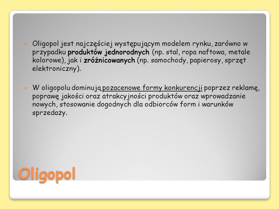 Oligopol Oligopol jest najczęściej występującym modelem rynku, zarówno w przypadku produktów jednorodnych (np. stal, ropa naftowa, metale kolorowe), j