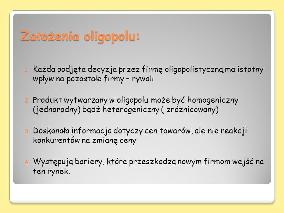 Założenia oligopolu: 1. Każda podjęta decyzja przez firmę oligopolistyczną ma istotny wpływ na pozostałe firmy – rywali 2. Produkt wytwarzany w oligop