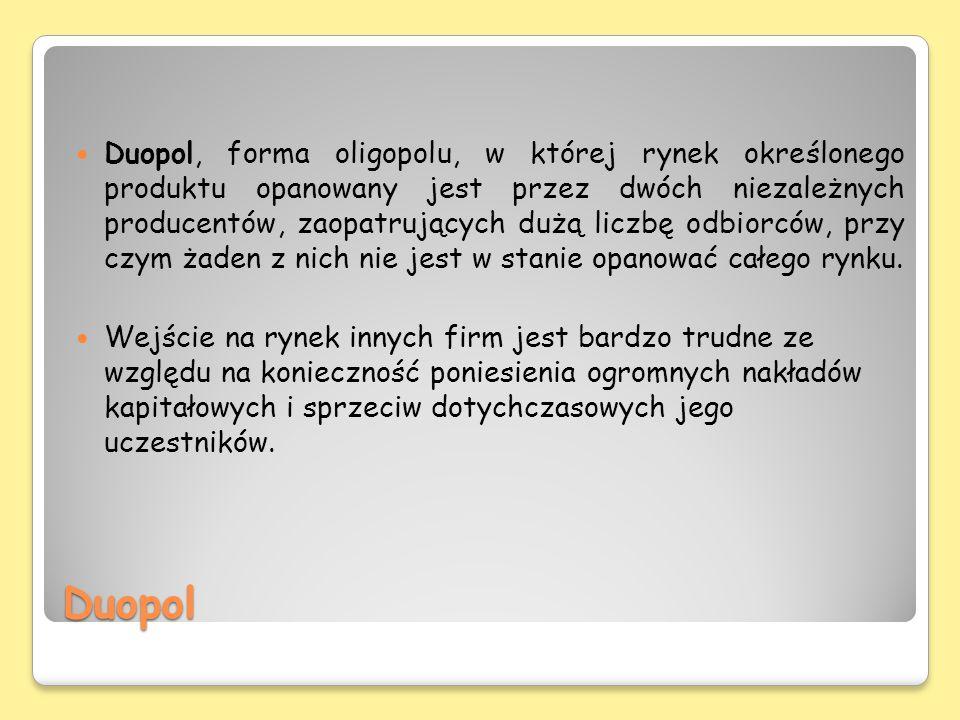 Duopol Duopol, forma oligopolu, w której rynek określonego produktu opanowany jest przez dwóch niezależnych producentów, zaopatrujących dużą liczbę od