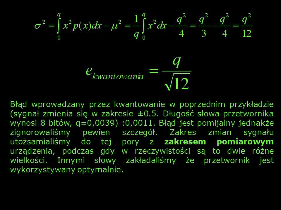 Błąd wprowadzany przez kwantowanie w poprzednim przykładzie (sygnał zmienia się w zakresie ±0.5. Długość słowa przetwornika wynosi 8 bitów, q=0,0039)