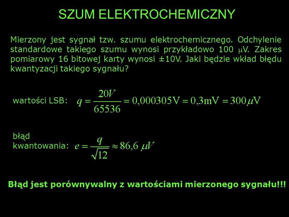 SZUM ELEKTROCHEMICZNY Mierzony jest sygnał tzw. szumu elektrochemicznego. Odchylenie standardowe takiego szumu wynosi przykładowo 100 V. Zakres pomiar