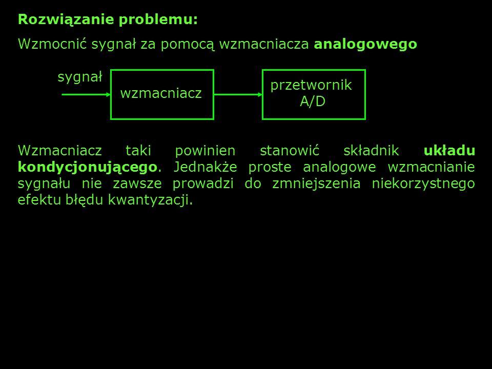 Rozwiązanie problemu: Wzmocnić sygnał za pomocą wzmacniacza analogowego sygnał wzmacniacz przetwornik A/D Wzmacniacz taki powinien stanowić składnik u