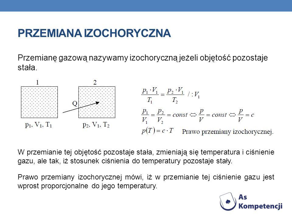 PRZEMIANA IZOCHORYCZNA Przemianę gazową nazywamy izochoryczną jeżeli objętość pozostaje stała. W przemianie tej objętość pozostaje stała, zmieniają si