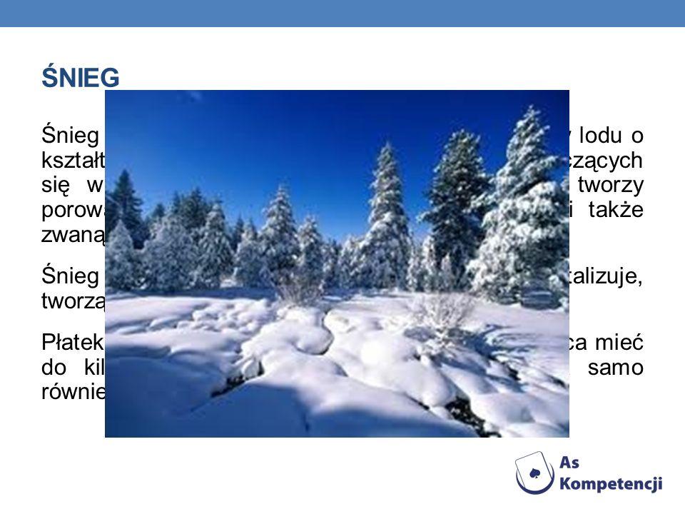 Śnieg to opad atmosferyczny w postaci kryształków lodu o kształtach głównie sześcioramiennych gwiazdek, łączących się w płatki śniegu. Po opadnięciu n