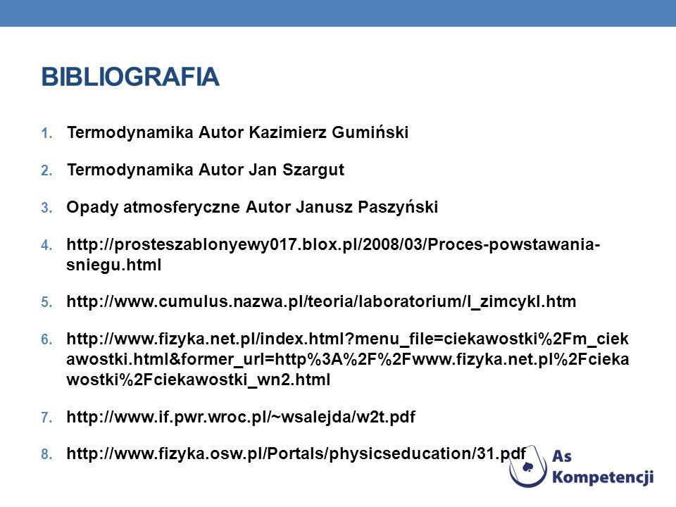 BIBLIOGRAFIA 1. Termodynamika Autor Kazimierz Gumiński 2. Termodynamika Autor Jan Szargut 3. Opady atmosferyczne Autor Janusz Paszyński 4. http://pros
