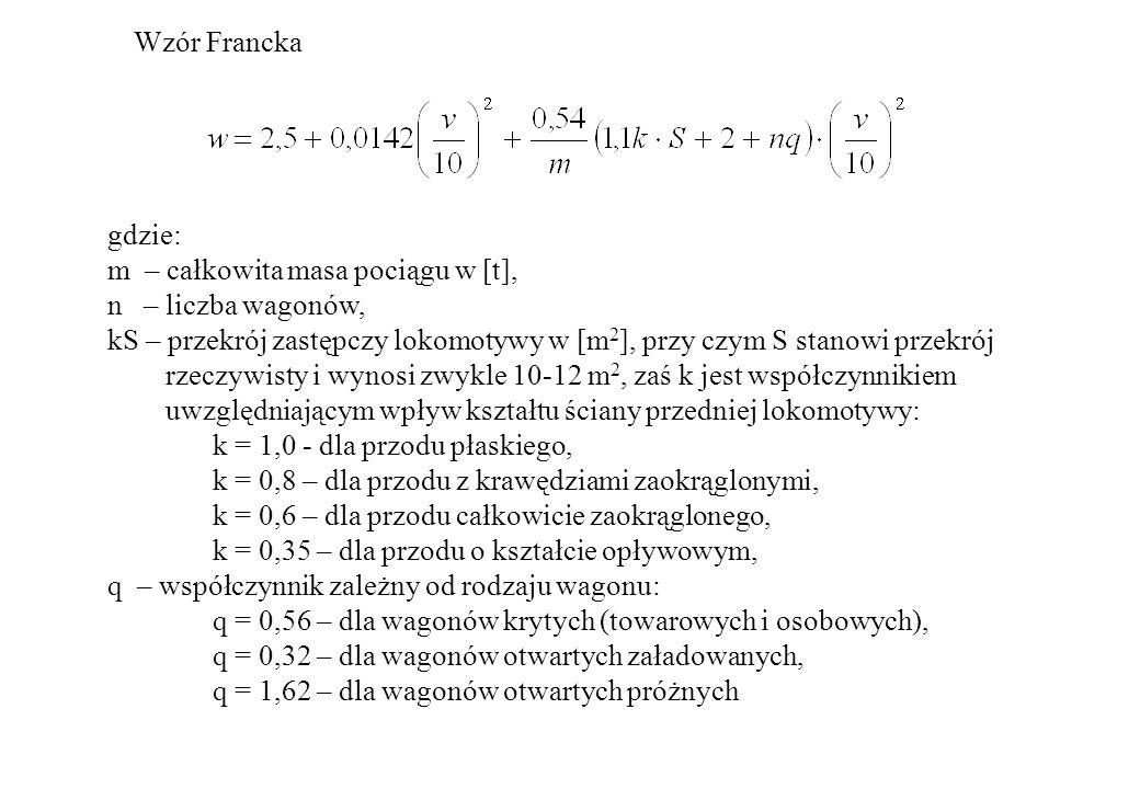 Wzór Francka gdzie: m – całkowita masa pociągu w [t], n – liczba wagonów, kS – przekrój zastępczy lokomotywy w [m 2 ], przy czym S stanowi przekrój rz