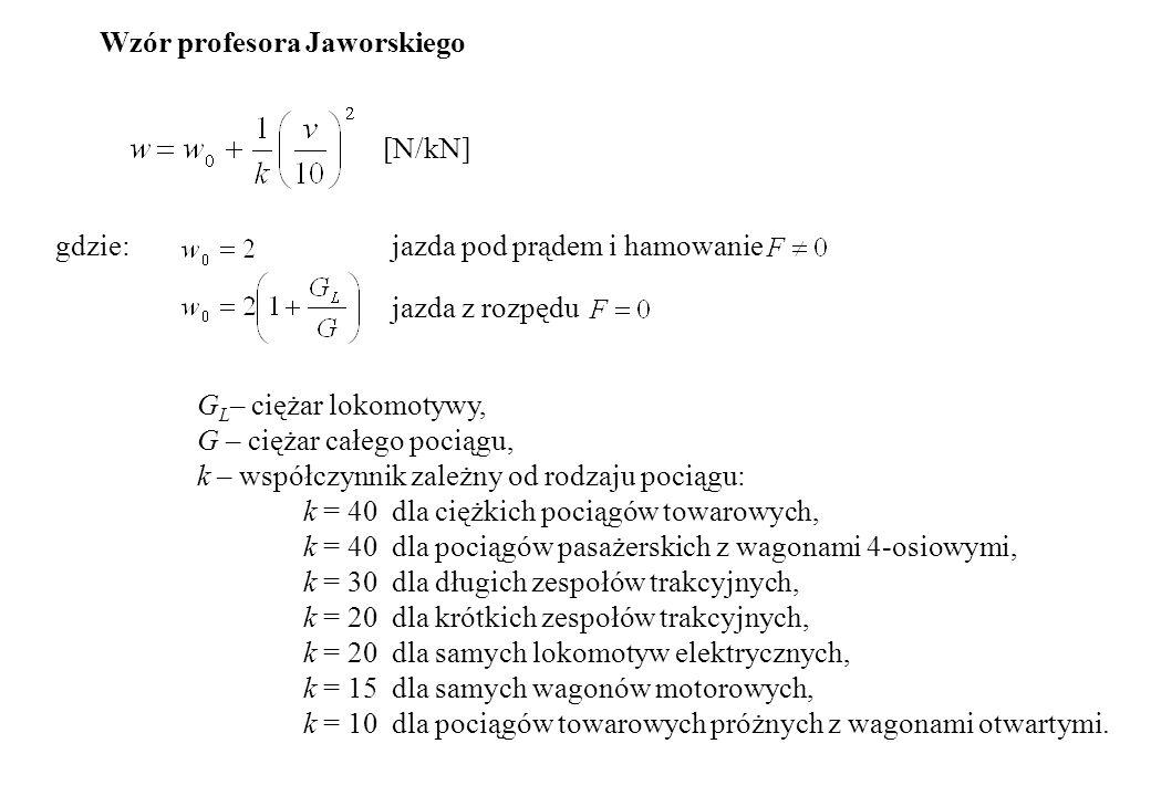 Wzór profesora Jaworskiego [N/kN] gdzie:jazda pod prądem i hamowanie jazda z rozpędu G L – ciężar lokomotywy, G – ciężar całego pociągu, k – współczyn