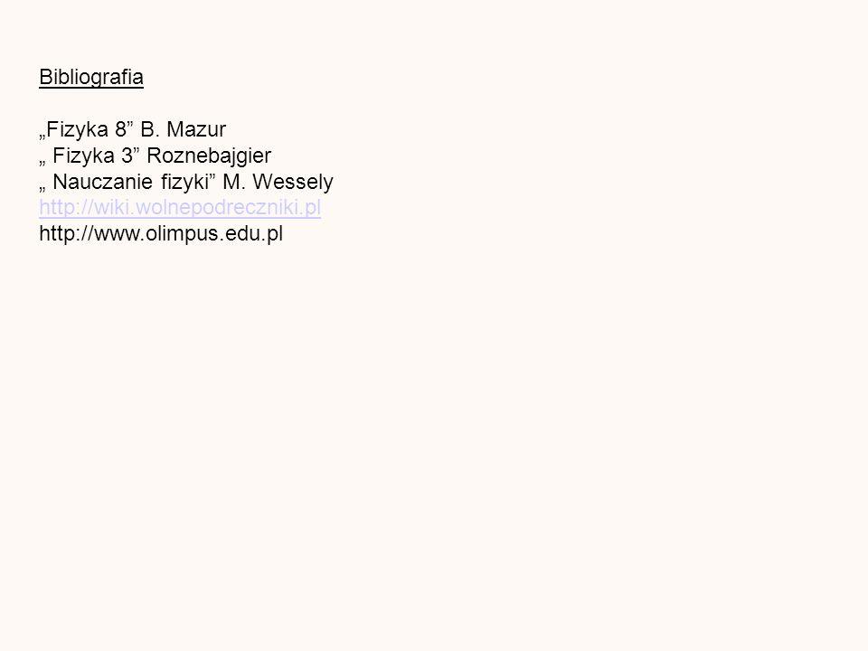 Bibliografia Fizyka 8 B. Mazur Fizyka 3 Roznebajgier Nauczanie fizyki M.