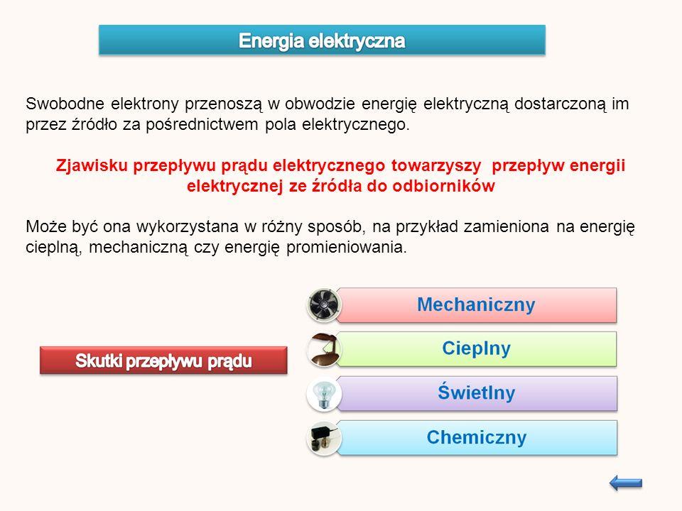Swobodne elektrony przenoszą w obwodzie energię elektryczną dostarczoną im przez źródło za pośrednictwem pola elektrycznego.