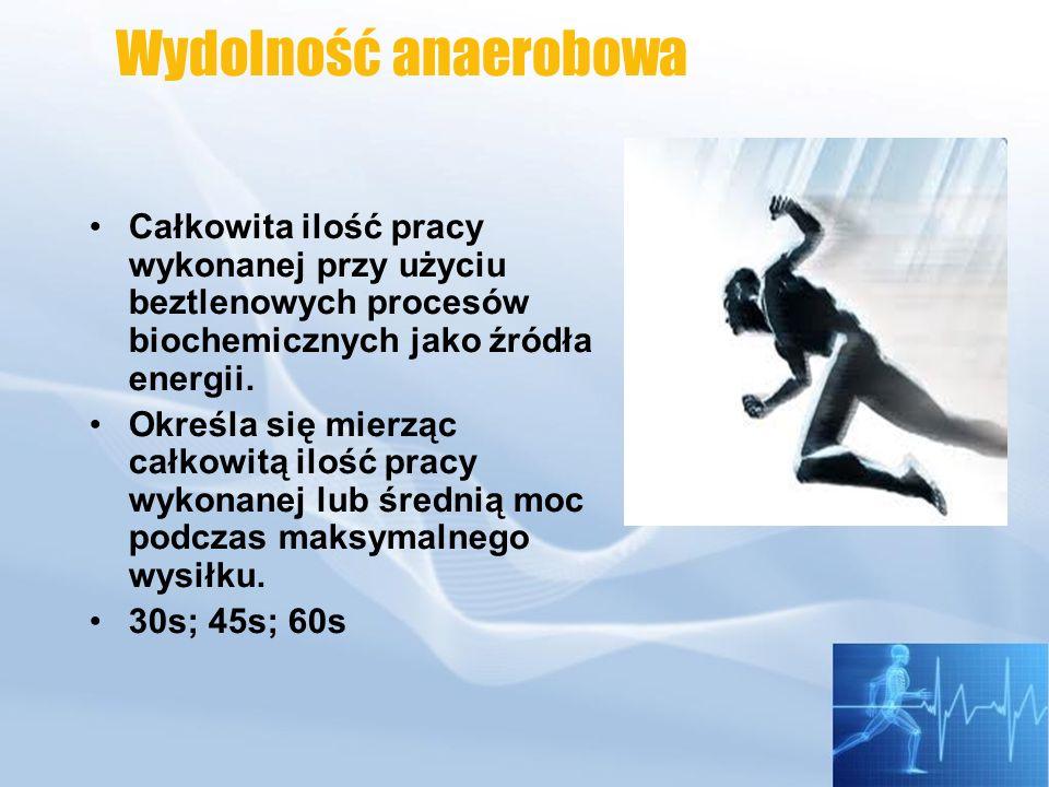 Ocena maksymalnej mocy anaerobowej Test Margarii Pmax = V x C x 9,8 Test Wingate określa: Pmax, wydolność anaerobową i wskaźnik zmęczenia.