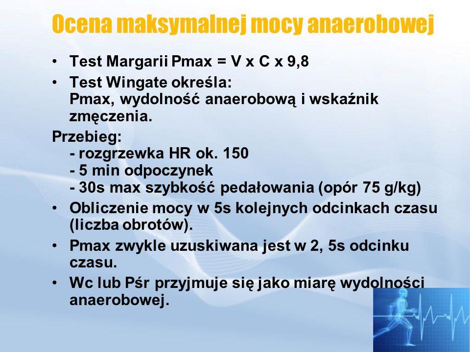 Pomiar VO 2 max Nomogram Astranda i Ryhming - wysiłek submaksymalny, HR 140 2-3 min wysiłek o obciążeniu większym o 10-20 % od obciążenia odpowiadającego przewidywanej wielkości VO 2 max Przeciętne wartości VO 2 max w wieku 20-25 lat wynoszą: - kobiety 2-2,5 l/min -mężczyźni 2,8-3,2 l/min Uprawiający sporty wytrzymałościowe: -kobiety 3-3,5 l/min -mężczyźni 4,5-5,5 l/min