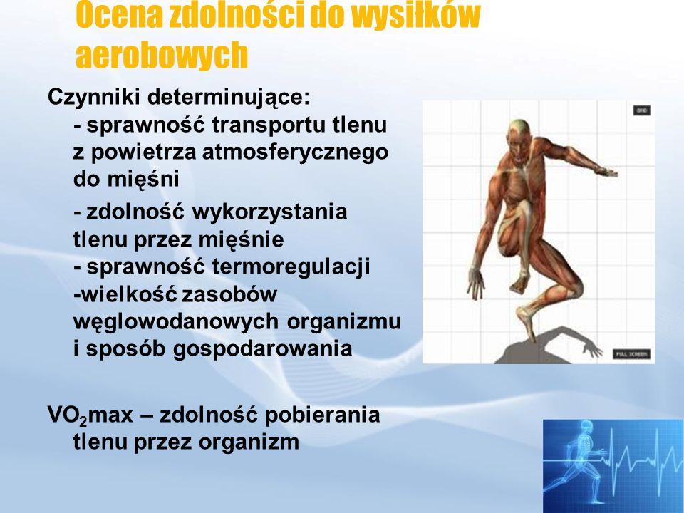 Zdolność pobierania tlenu przez organizm zależy od: Wentylacji VEVE Faza równowagi WYSIŁEK Zależność pobierania tlenu i wentylacji płuc: - niewytrenowani przebieg liniowy do obciążeń 50 -60 % - sportowcy 75-85 %