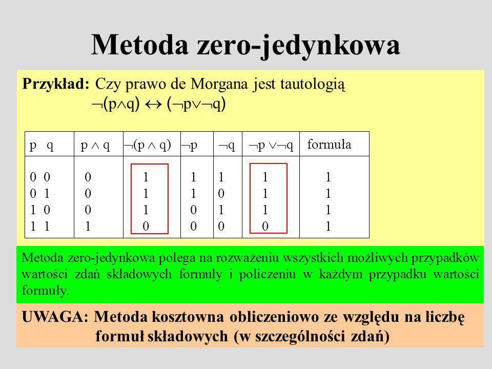 Metoda zero-jedynkowa Przykład: Czy prawo de Morgana jest tautologią ( p q ) ( p q ) p q p q (p q) p q p q formuła 0 0 0 1 1 1 1 1 0 1 0 1 1 0 1 1 1 0 0 1 0 1 1 1 1 1 1 0 0 0 0 1 Metoda zero-jedynkowa polega na rozważeniu wszystkich możliwych przypadków wartości zdań składowych formuły i policzeniu w każdym przypadku wartości formuły.