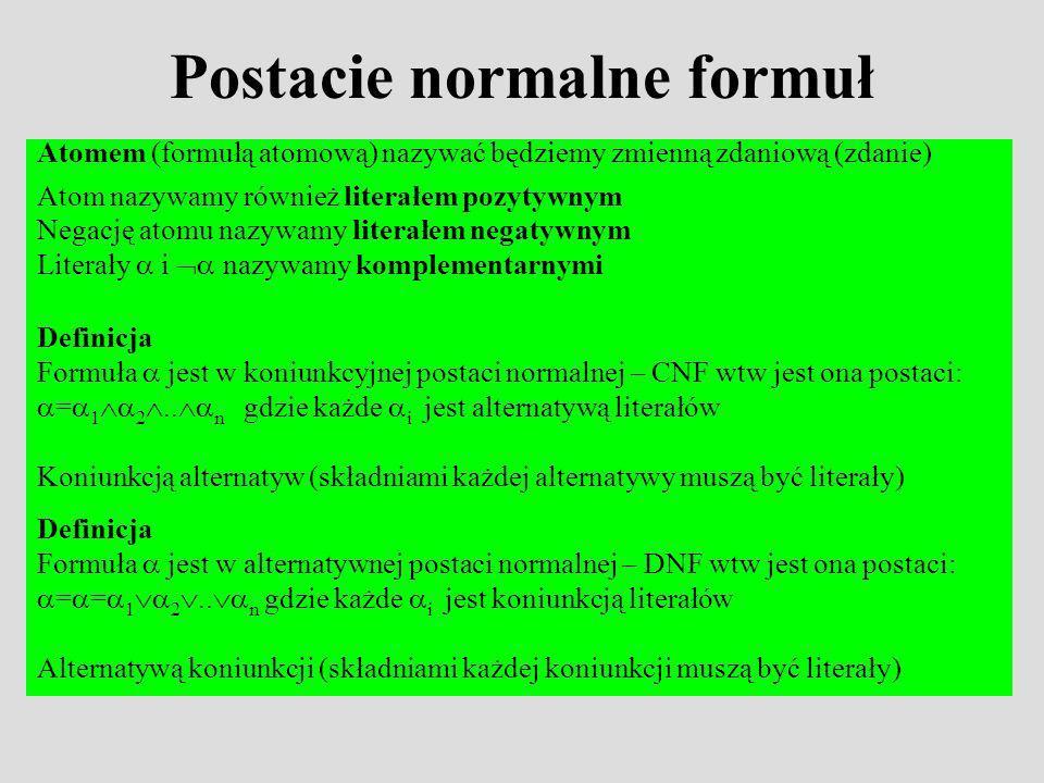 Postacie normalne formuł Atomem (formułą atomową) nazywać będziemy zmienną zdaniową (zdanie) Atom nazywamy również literałem pozytywnym Negację atomu nazywamy literałem negatywnym Literały i nazywamy komplementarnymi Definicja Formuła jest w koniunkcyjnej postaci normalnej – CNF wtw jest ona postaci: = 1 2..