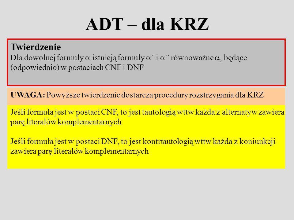 ADT – dla KRZ Jeśli formuła jest w postaci CNF, to jest tautologią wttw każda z alternatyw zawiera parę literałów komplementarnych Jeśli formuła jest w postaci DNF, to jest kontrtautologią wttw każda z koniunkcji zawiera parę literałów komplementarnych Twierdzenie Dla dowolnej formuły istnieją formuły ` i równoważne, będące (odpowiednio) w postaciach CNF i DNF UWAGA: Powyższe twierdzenie dostarcza procedury rozstrzygania dla KRZ