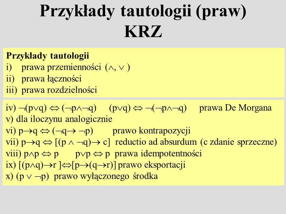 Przykłady tautologii (praw) KRZ Przykłady tautologii i)prawa przemienności (, ) ii)prawa łączności iii)prawa rozdzielności iv) (p q) ( p q) (p q) ( p q) prawa De Morgana v) dla iloczynu analogicznie vi) p q ( q p) prawo kontrapozycji vii) p q [(p q) c] reductio ad absurdum (c zdanie sprzeczne) viii) p p p p p p prawa idempotentności ix) [(p q) r ] [p (q r)] prawo eksportacji x) (p p) prawo wyłączonego środka