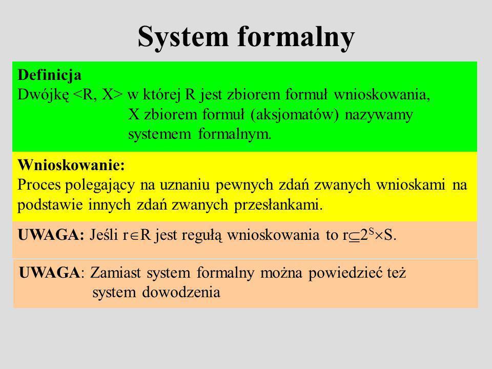 System formalny Definicja Dwójkę w której R jest zbiorem formuł wnioskowania, X zbiorem formuł (aksjomatów) nazywamy systemem formalnym.