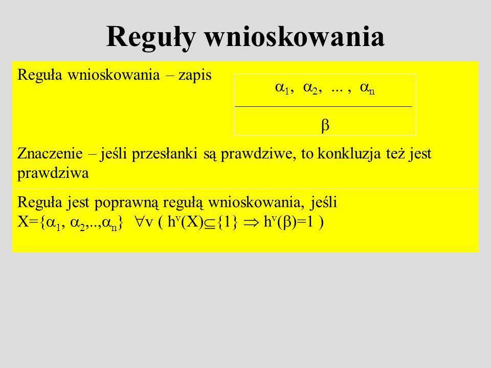 Reguły wnioskowania Reguła wnioskowania – zapis Znaczenie – jeśli przesłanki są prawdziwe, to konkluzja też jest prawdziwa n Reguła jest poprawną regułą wnioskowania, jeśli X={ 1, 2,.., n } v ( h v (X) {1} h v ( )=1 )