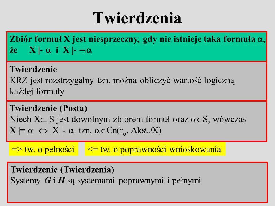 Zbiór formuł X jest niesprzeczny, gdy nie istnieje taka formuła, że X |- i X |- Twierdzenia Twierdzenie KRZ jest rozstrzygalny tzn.