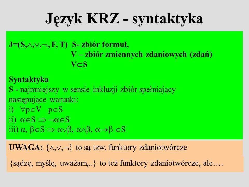 Język KRZ - syntaktyka J=(S,,,, F, T) S- zbiór formuł, V – zbiór zmiennych zdaniowych (zdań) V S Syntaktyka S - najmniejszy w sensie inkluzji zbiór spełniający następujące warunki: i) p V p S ii) S S iii), S,, S UWAGA: {,, } to są tzw.