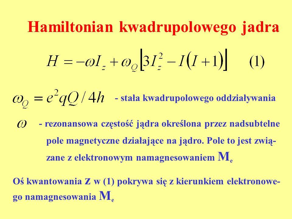 Hamiltonian kwadrupolowego jadra - stała kwadrupolowego oddziaływania - rezonansowa częstość jądra określona przez nadsubtelne pole magnetyczne działa