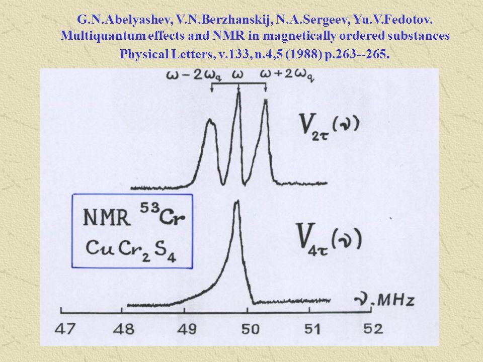 G.N.Abelyashev, V.N.Berzhanskij, N.A.Sergeev, Yu.V.Fedotov. Multiquantum effects and NMR in magnetically ordered substances Physical Letters, v.133, n