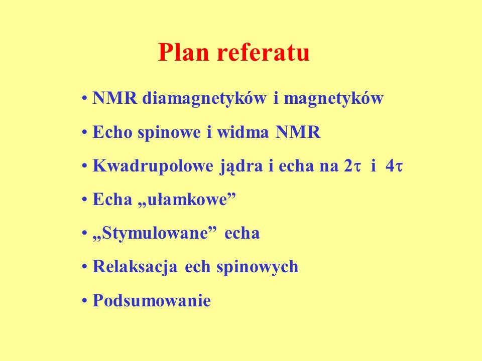 Plan referatu NMR diamagnetyków i magnetyków Echo spinowe i widma NMR Kwadrupolowe jądra i echa na 2 i 4 Echa ułamkowe Stymulowane echa Relaksacja ech