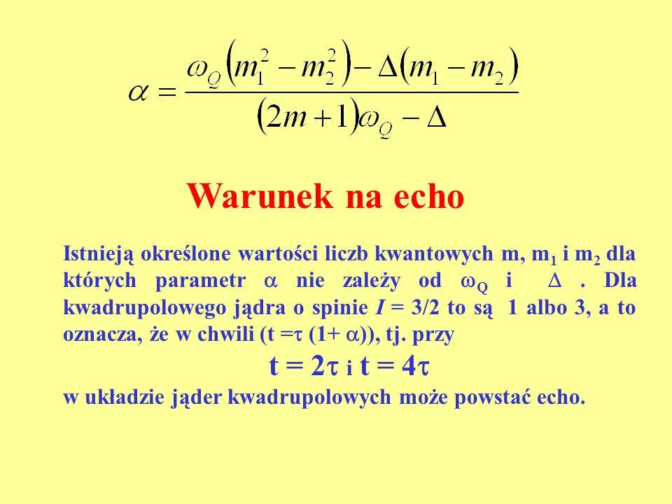 Warunek na echo Istnieją określone wartości liczb kwantowych m, m 1 i m 2 dla których parametr nie zależy od Q i. Dla kwadrupolowego jądra o spinie I