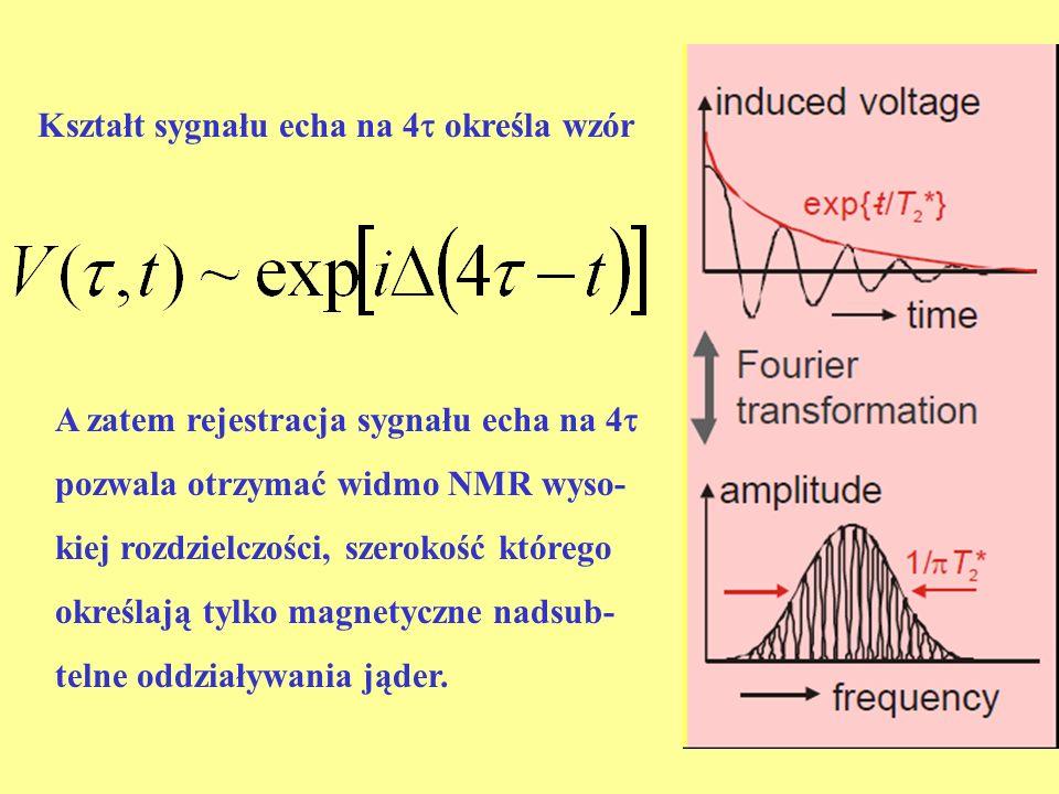 A zatem rejestracja sygnału echa na 4 pozwala otrzymać widmo NMR wyso- kiej rozdzielczości, szerokość którego określają tylko magnetyczne nadsub- teln