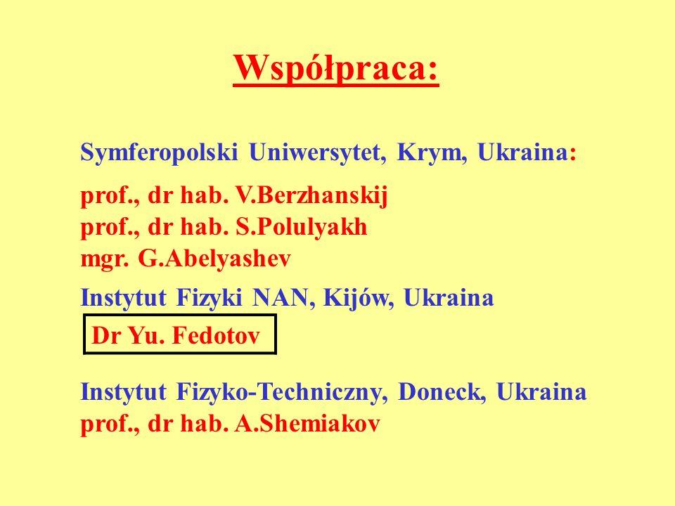 Współpraca: Symferopolski Uniwersytet, Krym, Ukraina: prof., dr hab. V.Berzhanskij prof., dr hab. S.Polulyakh mgr. G.Abelyashev Instytut Fizyki NAN, K