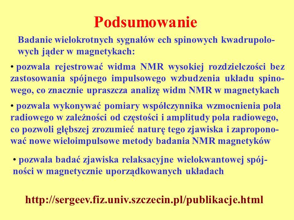 Podsumowanie http://sergeev.fiz.univ.szczecin.pl/publikacje.html pozwala rejestrować widma NMR wysokiej rozdzielczości bez zastosowania spójnego impul