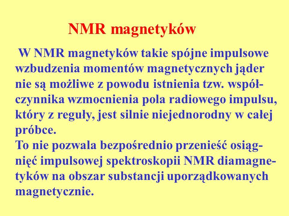 Widmo NMR a sygnały echa Widmo NMR zarejestrowane za pomocą sygnału podstawowego echa w chwili 2 odzwierciedla magnetyczne nadsubtelne i kwadrupolowe oddziaływania jądra (I = 3/2) Widmo NMR zarejestrowane za pomocą sygnału nowego echa w chwili 4 odzwierciedla tylko magnetyczne nadsub- telne oddziaływania jądra o spinie I = 3/2