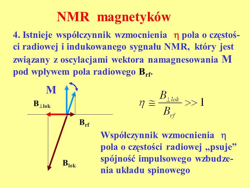 B rf B lok M 4. Istnieje współczynnik wzmocnienia pola o częstoś- ci radiowej i indukowanego sygnału NMR, który jest związany z oscylacjami wektora na
