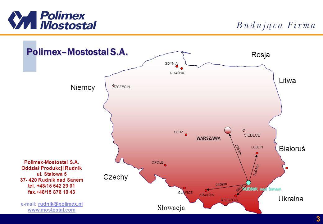 3 SZCZECIN WARSZAWA SIEDLCE RUDNIK nad Sanem LUBLIN 240km KRAKÓW GLIWICE GDAŃSK 275 km Białoruś Ukraina Słowacja Czechy Niemcy Rosja Litwa Polimex–Mos