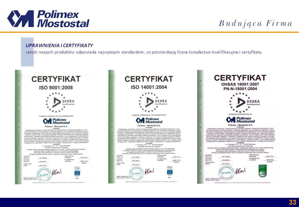 33 UPRAWNIENIA I CERTYFIKATY Jakość naszych produktów odpowiada najwyższym standardom, co potwierdzają liczne świadectwa kwalifikacyjne i certyfikaty.