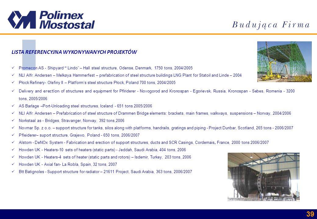 39 LISTA REFERENCYJNA WYKONYWANYCH PROJEKTÓW Promecon AS - Shipyard Lindo – Hall steel structure, Odense, Denmark, 1750 tons, 2004/2005 NLI Alfr. Ande