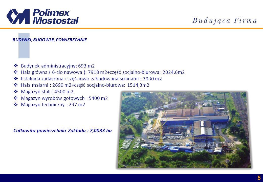 5 Budynek administracyjny: 693 m2 Hala główna ( 6-cio nawowa ): 7918 m2+część socjalno-biurowa: 2024,6m2 Estakada zadaszona i częściowo zabudowana ści