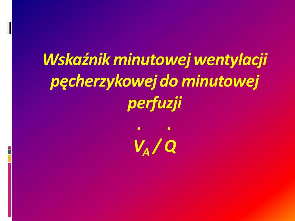Wskaźnik minutowej wentylacji pęcherzykowej do minutowej perfuzji.. V A / Q