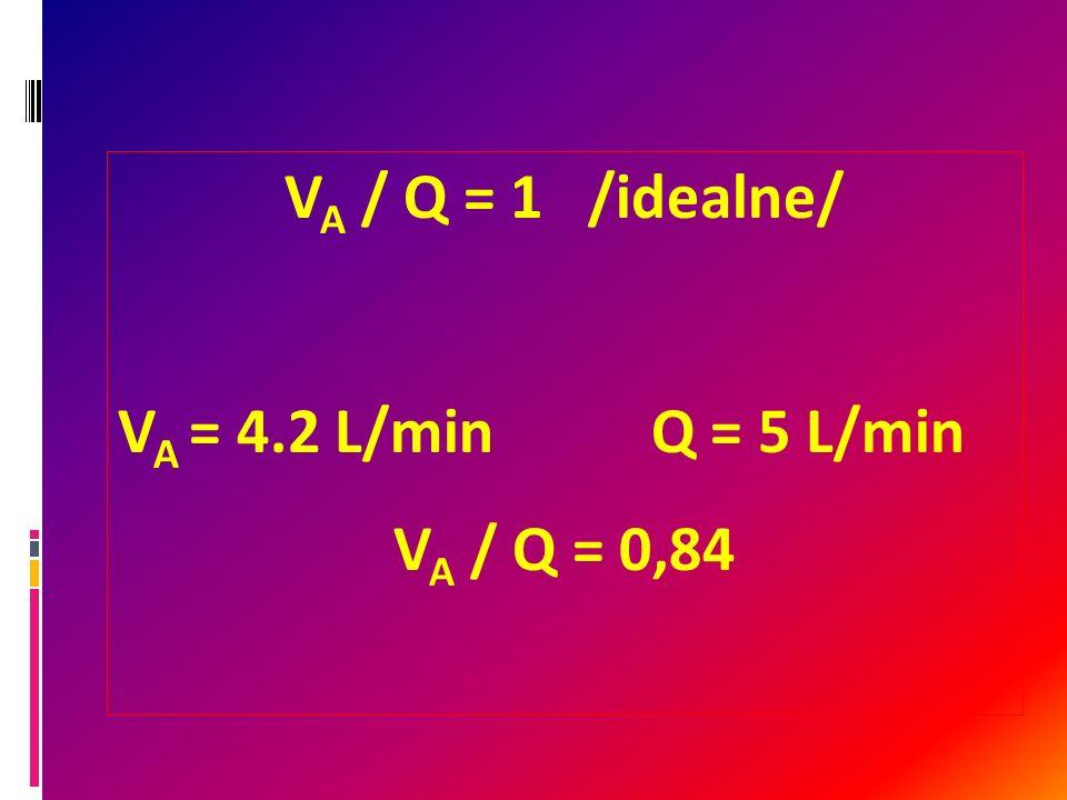 V A / Q = 1 /idealne/ V A = 4.2 L/minQ = 5 L/min V A / Q = 0,84