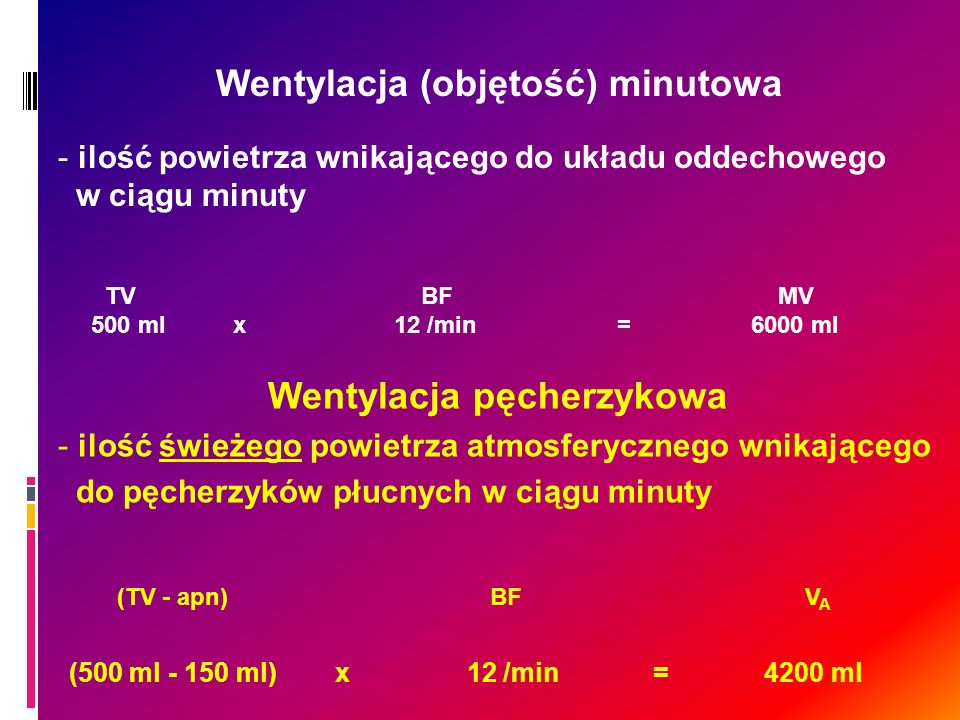 Wentylacja (objętość) minutowa - ilość powietrza wnikającego do układu oddechowego w ciągu minuty TV BFMV 500 ml x 12 /min = 6000 ml Wentylacja pęcher