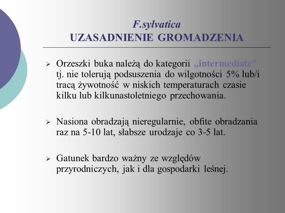 F.sylvatica UZASADNIENIE GROMADZENIA Orzeszki buka należą do kategorii intermediate tj. nie tolerują podsuszenia do wilgotności 5% lub/i tracą żywotno