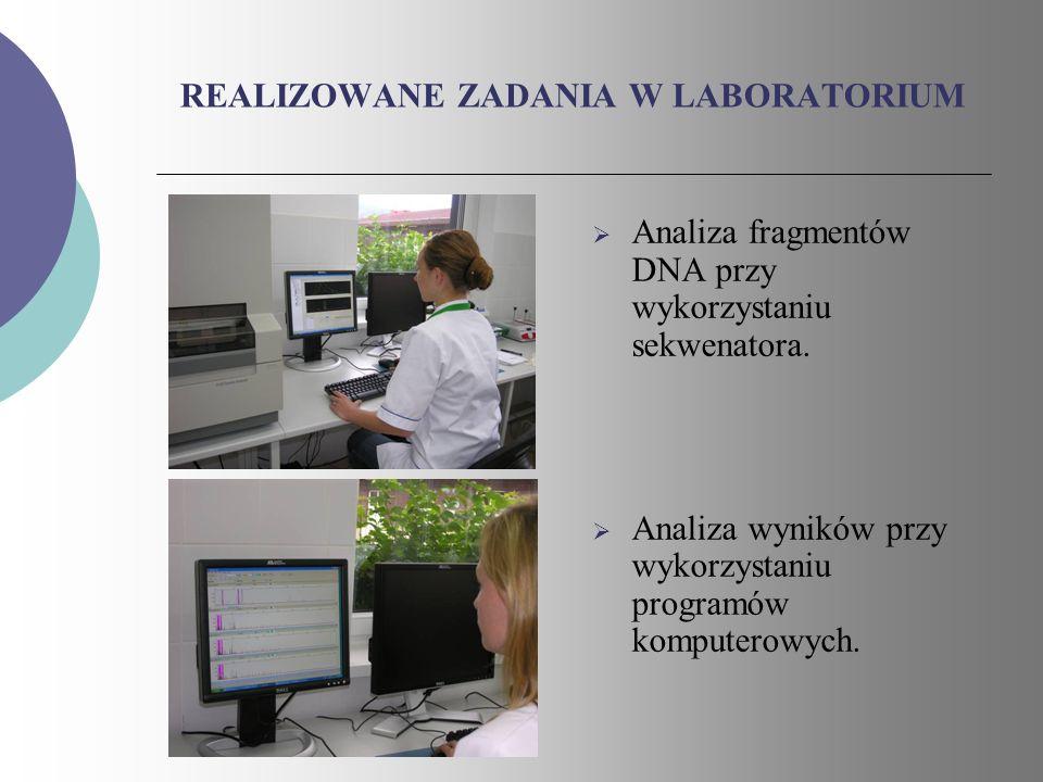 REALIZOWANE ZADANIA W LABORATORIUM Analiza fragmentów DNA przy wykorzystaniu sekwenatora. Analiza wyników przy wykorzystaniu programów komputerowych.