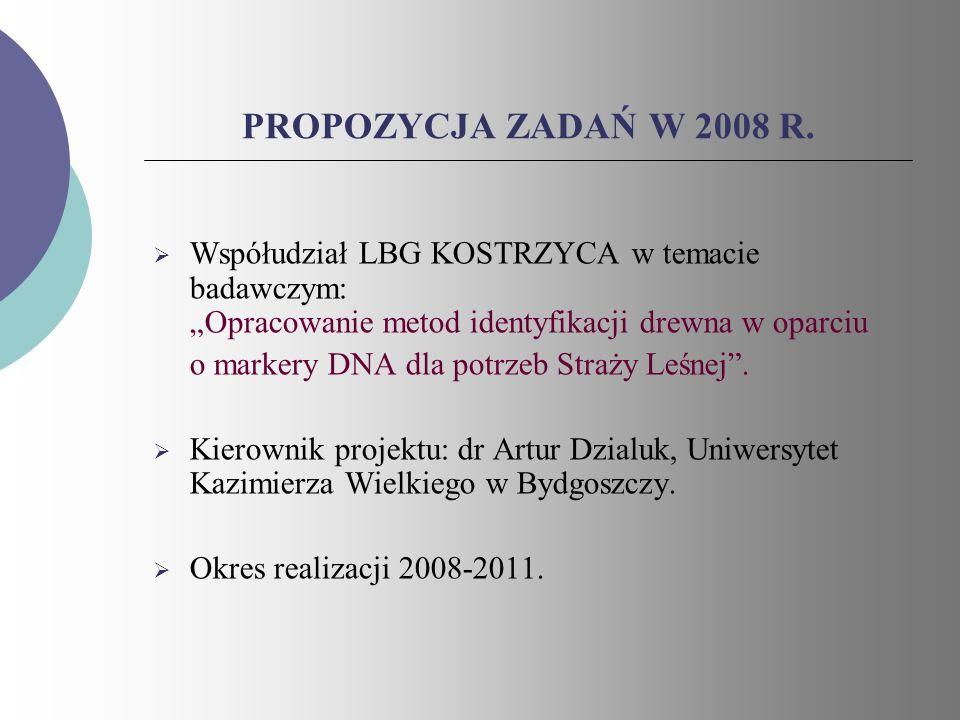 PROPOZYCJA ZADAŃ W 2008 R. Współudział LBG KOSTRZYCA w temacie badawczym: Opracowanie metod identyfikacji drewna w oparciu o markery DNA dla potrzeb S