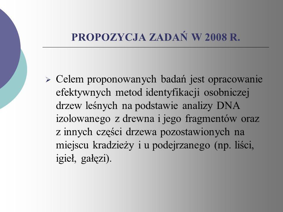 PROPOZYCJA ZADAŃ W 2008 R. Celem proponowanych badań jest opracowanie efektywnych metod identyfikacji osobniczej drzew leśnych na podstawie analizy DN