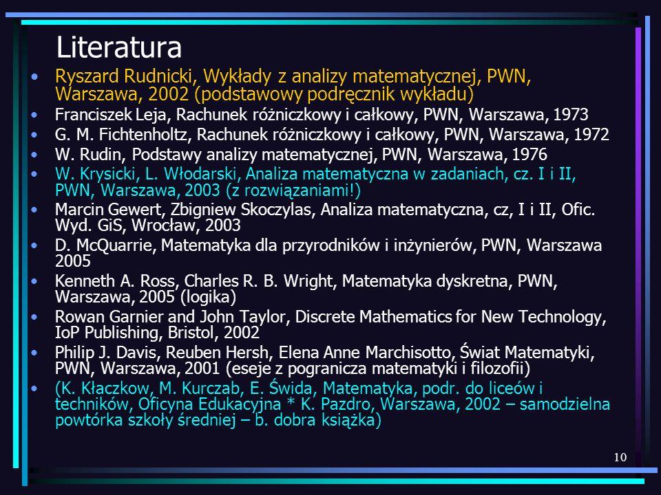 10 Literatura Ryszard Rudnicki, Wykłady z analizy matematycznej, PWN, Warszawa, 2002 (podstawowy podręcznik wykładu) Franciszek Leja, Rachunek różnicz