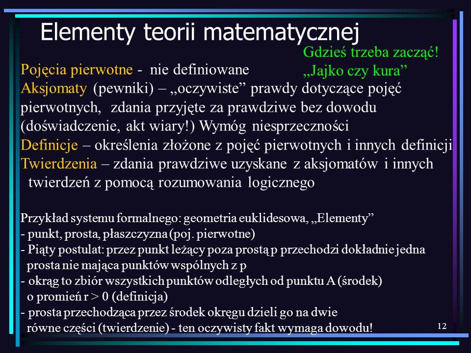 12 Elementy teorii matematycznej Pojęcia pierwotne - nie definiowane Aksjomaty (pewniki) – oczywiste prawdy dotyczące pojęć pierwotnych, zdania przyję